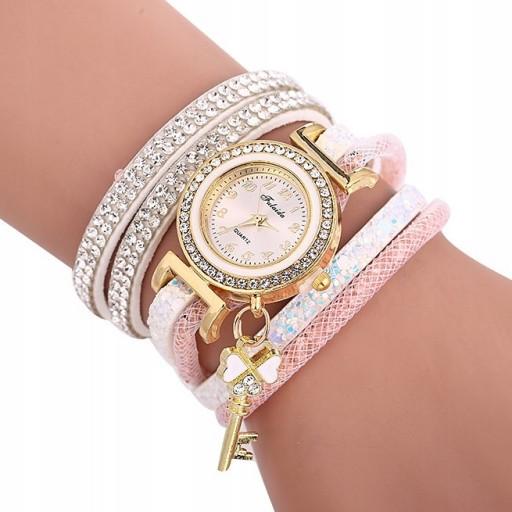 Zdjęcie produktu Zegarek oplatany w cyrkonie z kluczykiem biało-różowy