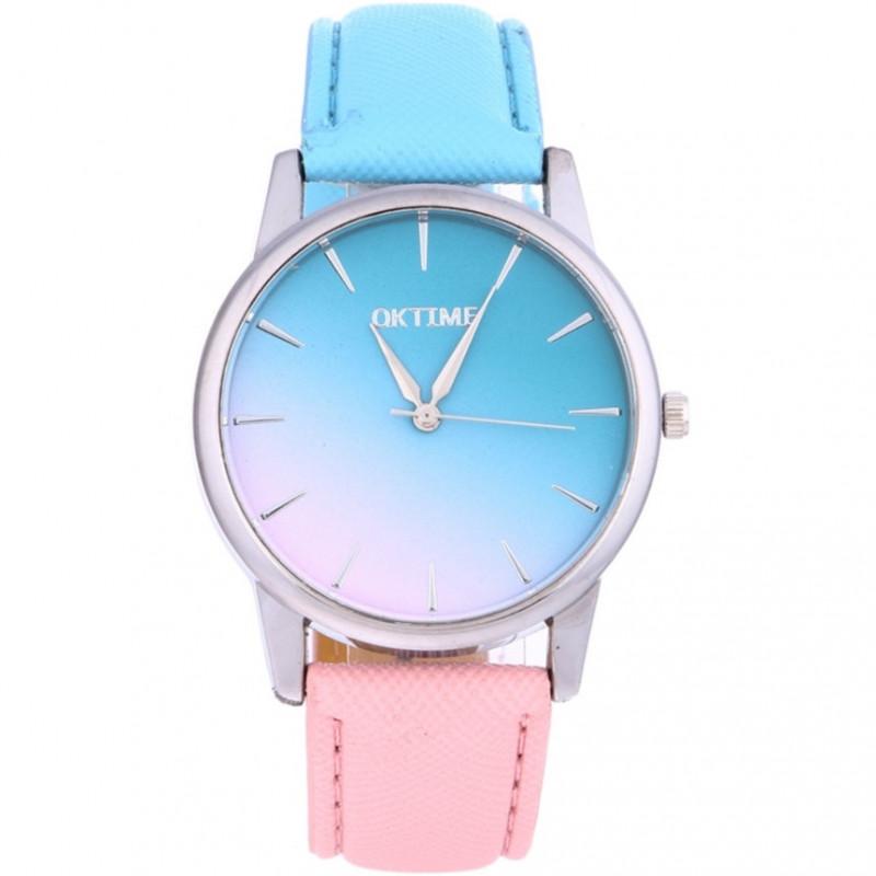 Zdjęcie Zegarek skórzany OMBRE różowo-niebieski