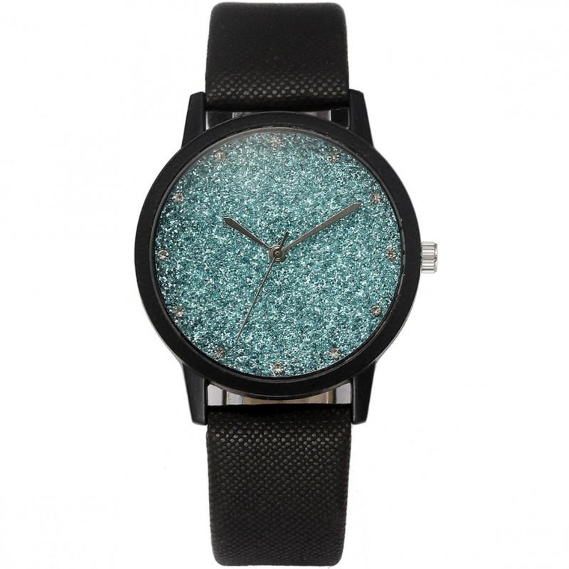 Zegarek skórzany Brokat turkusowy