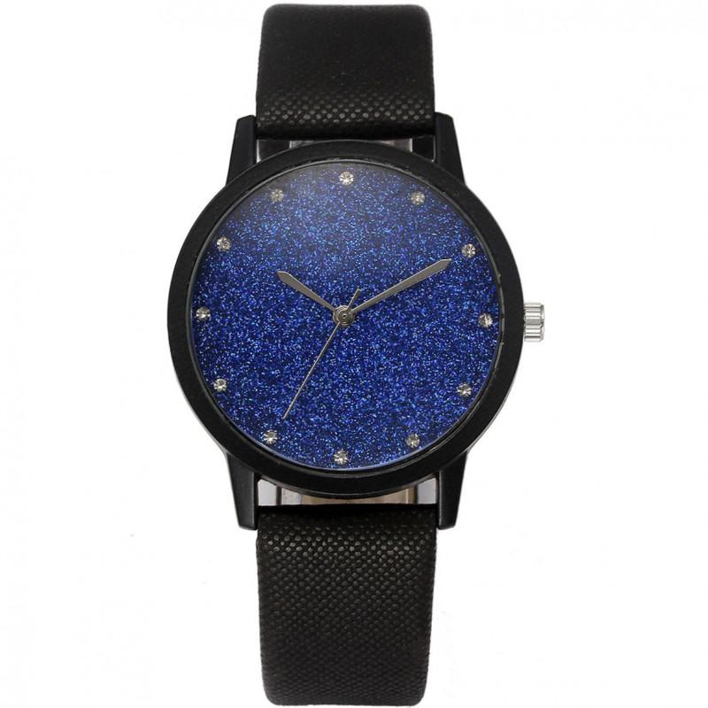 Zegarek skórzany Brokat kobaltowy