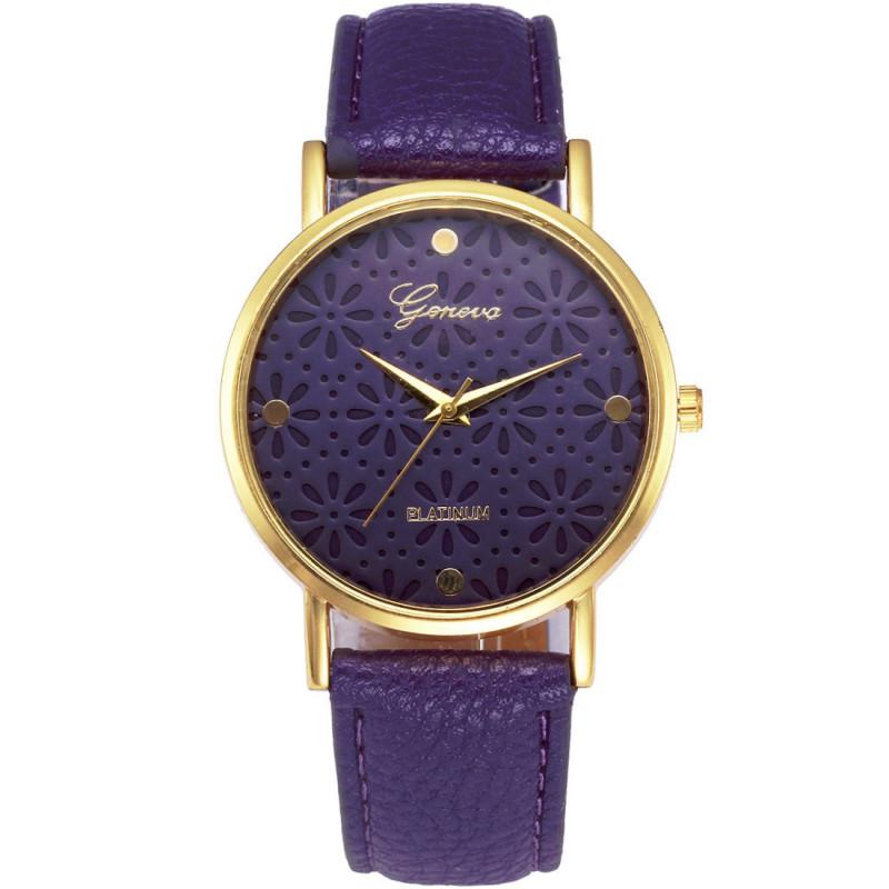 Zegarek skórzany Ażur fioletowy