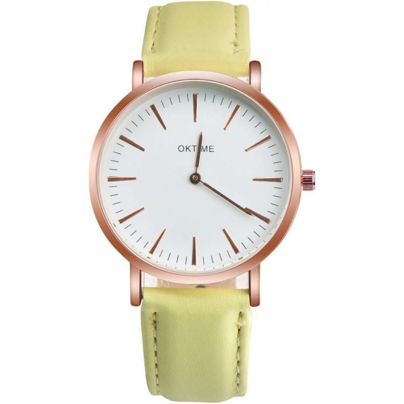 Zegarek skórzany Pastel limonka