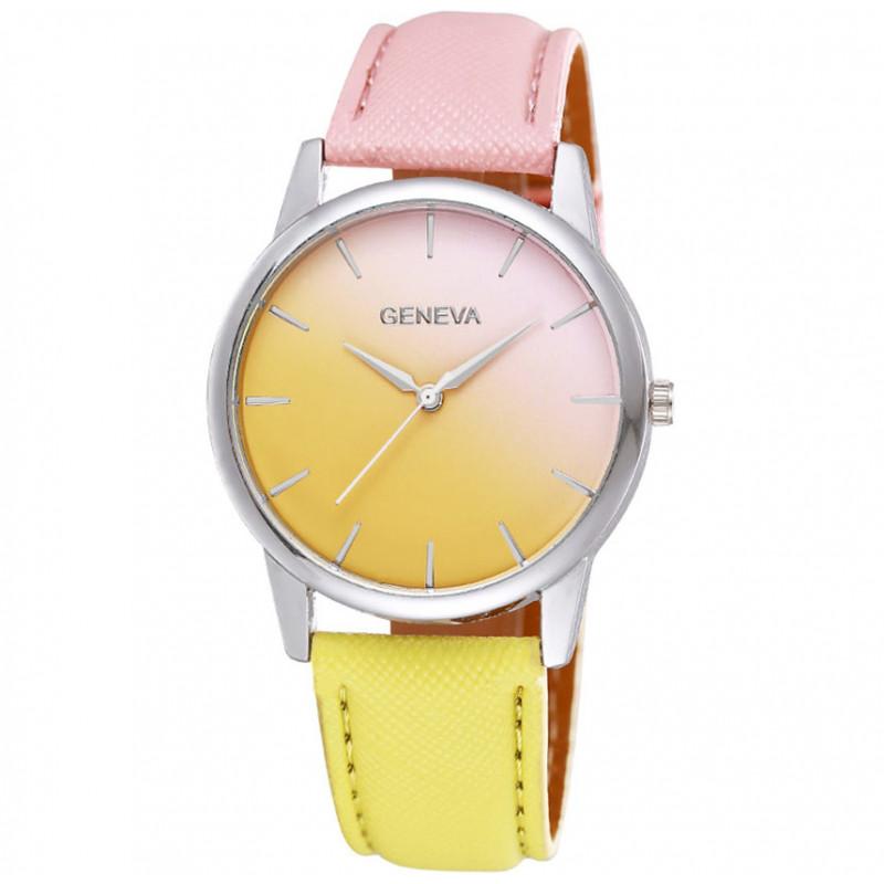 Zegarek skórzany Ombre różowo-żółty